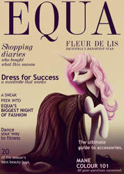 Size: 800x1125 | Tagged: artist:cosmicunicorn, beautiful, clothes, cover, dress, eyes closed, female, fleur-de-lis, magazine, mare, pony, raised hoof, safe, solo, text, unicorn