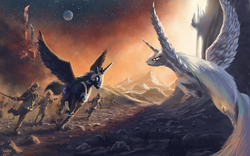 Size: 1680x1050 | Tagged: safe, artist:moe, nightmare moon, princess celestia, alicorn, human, pony, angry, armor, army, canterlot, evening, female, fight, flying, frown, jewelry, mare, missing accessory, moon, regalia, running, sky, spread wings, stars, sunset, sword, war, weapon, wings