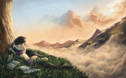 Size: 1680x1050 | Tagged: source needed, safe, artist:moe, octavia melody, earth pony, pony, cloud, eyes closed, female, floppy ears, grass, mare, mountain, mountain range, on back, scenery, scenery porn, sheet music, smiling, solo, tree