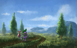 Size: 1280x800 | Tagged: safe, artist:moe, spike, dragon, dragon quest, bindle, male, road, scenery, solo, tree