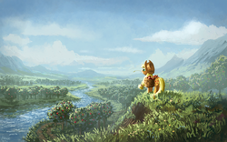 Size: 1280x800 | Tagged: safe, artist:moe, applejack, earth pony, pony, apple, basket, female, mare, river, scenery, scenery porn, solo, sweet apple acres, tree