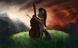 Size: 1680x1050   Tagged: source needed, safe, artist:moe, octavia melody, earth pony, pony, backlighting, bipedal, cello, eyes closed, female, mare, musical instrument, rear view, scenery, solo