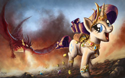 Size: 1680x1050 | Tagged: safe, artist:moe, basil, rarity, dragon, pony, unicorn, adventure, awesome face, bits, chase, female, fire, fire breath, gem, greedity, horn jewelry, jewelry, laughing, mare, open mouth, running, smiling, stealing, wahaha