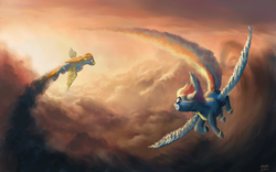 Size: 1680x1050   Tagged: safe, artist:moe, rainbow dash, spitfire, pegasus, pony, clothes, cloud, cloudy, female, flying, mare, scenery, sky, trail, uniform, wallpaper, wonderbolts, wonderbolts uniform