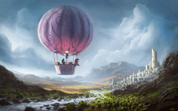 Size: 1680x1050 | Tagged: safe, artist:moe, spike, twilight sparkle, dragon, pony, unicorn, balloon, city, female, hot air balloon, male, mare, original location, river, scenery, scenery porn, twinkling balloon
