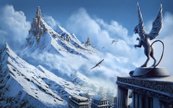 Size: 1980x1238 | Tagged: safe, artist:moe, oc, oc only, griffon, city, cloud, cloudy, generic pony, mountain, rearing, scenery, scenery porn, sky, snow, statue, wallpaper
