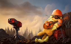 Size: 1980x1238   Tagged: safe, artist:moe, applejack, earth pony, pony, crossover, engiejack, engineer, female, goggles, guitar, hat, mare, on back, sentry, solo, team fortress 2, turret, wrench