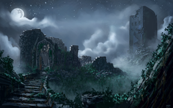 Size: 1980x1238 | Tagged: safe, artist:moe, background, castle, castle of the royal pony sisters, cloud, cloudy, fog, mare in the moon, mist, moon, night, no pony, old castle ruins, ruins, scenery, scenery porn, stairs, stars, vine