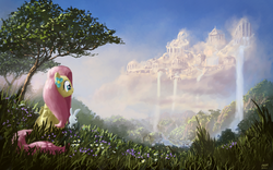 Size: 1980x1238 | Tagged: safe, artist:moe, angel bunny, fluttershy, pegasus, pony, cloudsdale, duo, female, grass, looking away, mare, painting, scenery, scenery porn, sitting