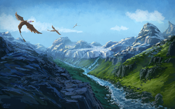 Size: 1280x800 | Tagged: safe, artist:moe, gilda, griffon, female, glacier, land, mountain, mountain range, river, scenery, scenery porn, valley