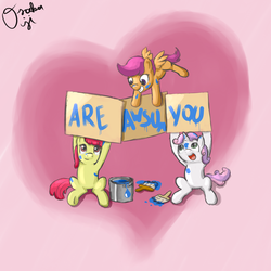 Size: 2000x2000 | Tagged: safe, artist:osakaoji, apple bloom, scootaloo, sweetie belle, earth pony, pegasus, pony, unicorn, cute, cutie mark crusaders, female, filly, flying, heart, high res, paint, paint on fur, paintbrush, scootaloo can fly, sign