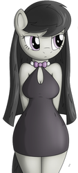 Size: 359x795 | Tagged: safe, artist:tg-0, octavia melody, earth pony, anthro, bare shoulders, breasts, busty octavia, cleavage, clothes, cute, dress, female, hands behind back, little black dress, looking sideways, simple background, solo, tavibetes, white background, wide hips