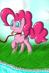 Size: 1200x1800   Tagged: safe, artist:kinkyspree, pinkie pie, earth pony, pony, collar, female, grass, leash, mare, no pupils, pet play, raised hoof, solo, tongue out