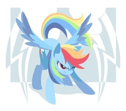Size: 1000x875 | Tagged: safe, artist:yoh yoshinari, part of a set, rainbow dash, pegasus, pony, action pose, cutie mark, cutie mark background, female, flying, hooves, lineless, mare, one eye closed, solo, spread wings, wings