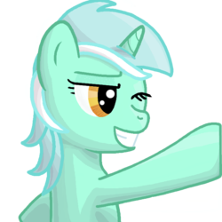 Size: 700x700   Tagged: safe, artist:popprocks, part of a set, lyra heartstrings, pony, unicorn, female, hoofbump, mare, one eye closed, simple background, solo, transparent background