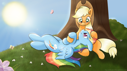 Size: 1920x1080 | Tagged: safe, artist:ratofdrawn, applejack, rainbow dash, butterfly, earth pony, pegasus, pony, appledash, eye contact, female, flower, grass, head on lap, lesbian, looking at each other, mare, on back, outdoors, shipping, sitting, sun, tree, under the tree, wallpaper
