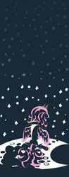 Size: 850x2169 | Tagged: dead source, safe, artist:tess, princess celestia, alicorn, pony, crown, female, jewelry, pink-mane celestia, regalia, sad, sitting, solo, young, young celestia, younger
