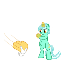 Size: 500x500 | Tagged: angel bunny, artist:deoxys413, bipedal, bitch slap, female, lyra heartstrings, magic, magic hands, mare, pony, safe, simple background, unicorn, white background