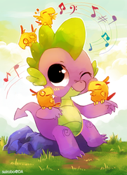 Size: 664x915 | Tagged: dead source, safe, artist:suikuzu, peewee, spike, dragon, phoenix, baby, baby dragon, blush sticker, blushing, chick, cute, featured image, male, music notes, nuzzling, one eye closed, one eye open, phoenix chick, rock, rubbing, signature, singing, sitting, smiling, spikabetes, squishy, squishy cheeks, sweet dreams fuel, waving, wink