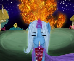 Size: 1200x1000 | Tagged: safe, artist:hewhoerasesmost, trixie, pony, unicorn, eyes closed, female, fire, golden oaks library, harsher in hindsight, mare, revenge, straw