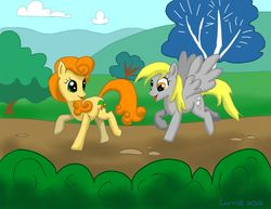 Size: 850x657 | Tagged: artist:netraptor, carrot top, cute, cutie top, derpy hooves, golden harvest, happy, safe