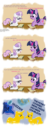 Size: 1500x4000 | Tagged: artist:dtcx97, book, eye contact, eyes closed, frown, glasses, grin, honey, magic, open mouth, post-crusade, princess cadance, princess luna, prone, raised eyebrow, reading, safe, shining armor, shiningcadance, shipping, smiling, straight, sweetie belle, telekinesis, the fun has been doubled, twilight sparkle, unamused, wide eyes