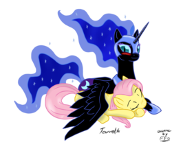 Size: 811x670 | Tagged: artist:freefraq, artist:tarreth, crack shipping, fluttermoon, fluttershy, lesbian, nightmare moon, safe, shipping, simple background, transparent background