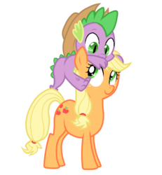 Size: 409x442   Tagged: safe, artist:lifelspain, applejack, spike, dragon, earth pony, pony, applejack's hat, applespike, baby, baby dragon, cowboy hat, cute, cutie mark, dragons riding ponies, female, freckles, green eyes, hat, jackabetes, male, mare, riding, shipping, simple background, spikabetes, spike riding applejack, stetson, straight, transparent background