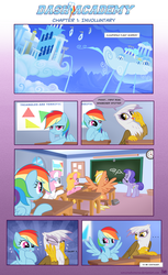 Size: 1116x1829 | Tagged: safe, artist:sorcerushorserus, gilda, rainbow dash, griffon, pegasus, pony, comic:dash academy, comic, eyes on the prize, female, flight school, male, mare, stallion, wingboner