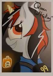 Size: 750x1075 | Tagged: safe, artist:mattatatta, oc, oc only, oc:blackjack, pony, unicorn, fallout equestria, fallout equestria: project horizons, alcohol, clothes, fallout, female, mare, queen whiskey, security armor, solo, vault security armor, vault suit, whiskey
