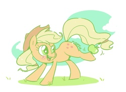 Size: 665x489 | Tagged: apple, applejack, artist:kelsea-chan, balancing, earth pony, female, looking back, mare, pony, safe, solo