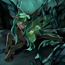 Size: 1000x1000 | Tagged: artist:soukitsubasa, female, floppy ears, looking at you, prone, queen chrysalis, safe, solo