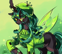 Size: 1000x867 | Tagged: artist:soukitsubasa, beatnik, beret, clothes, female, glasses, queen chrysalis, safe, solo, sweater