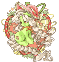 Size: 800x840 | Tagged: artist:raspbearyart, colored pupils, earth pony, female, filly, granny smith, hat, looking back, pony, safe, sitting, solo, young granny smith