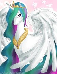 Size: 1700x2206 | Tagged: safe, artist:monii--chan, princess celestia, alicorn, pony, female, mare, solo, spread wings, wings