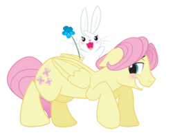 Size: 2393x1909 | Tagged: safe, artist:wicklesmack, angel bunny, fluttershy, pegasus, pony, angela bunny, blushing, butterscotch, floppy ears, flower, male, rule 63, simple background, stallion, transparent background