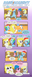 Size: 983x2347 | Tagged: safe, artist:sorcerushorserus, brolly, derpy hooves, firefly, rainbow dash, surprise, whitewash, pegasus, pony, comic:dash academy, comic, female, g1, g1 to g4, generation leap, male, mare, shipper on deck, stallion