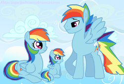 Size: 1954x1320 | Tagged: dead source, safe, artist:jaquelindreamz, rainbow dash, oc, oc:aurora spectralis, pegasus, pony, cloud, dashblitz, daughter, family, father, female, filly, incest, male, mare, mother, offspring, parent:rainbow blitz, parent:rainbow dash, parents:dashblitz, parents:selfcest, product of incest, rainbow blitz, rainbow's lament, rule 63, self ponidox, selfcest, shipping, stallion, straight, used with a base