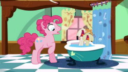 Size: 1366x768 | Tagged: safe, artist:chowsupr334, pinkie pie, pound cake, pumpkin cake, earth pony, pony, baby cakes, angel cake, baby, baby pony, bath, bathtub, bubble berry, cake twins, cheese cake, claw foot bathtub, male, rule 63, sink, stallion