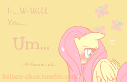 Size: 1280x828 | Tagged: safe, artist:kelsea-chan, part of a set, fluttershy, pegasus, pony, blushing, female, floppy ears, hair over one eye, mare, sitting, solo, valentine