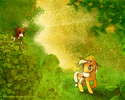 Size: 1000x800 | Tagged: applejack, artist:hinoraito, colored pupils, earth pony, female, hat, leaves, mare, pony, safe, winona