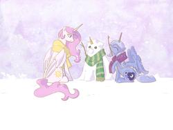 Size: 2048x1536 | Tagged: safe, artist:egophiliac, princess celestia, princess luna, alicorn, pony, clothes, duo, female, mare, mouth hold, pink-mane celestia, royal sisters, s1 luna, scarf, sisters, sitting, snow, snowfall, snowmare, snowpony