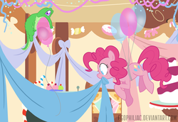 Size: 1800x1238 | Tagged: artist:egophiliac, balloon, colored pupils, cupcake, decoration, earth pony, female, floating, food, gummy, mare, mouth hold, pinkie pie, pony, safe, sugarcube corner, then watch her balloons lift her up to the sky