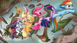 Size: 1920x1080 | Tagged: safe, artist:jinzhan, applejack, fluttershy, pinkie pie, rainbow dash, rarity, twilight sparkle, alligator, crocodile, earth pony, pegasus, pony, reptile, unicorn, action pose, anatomically incorrect, animal, badass, crying, escape, eyes closed, female, flying, incorrect leg anatomy, mane six, map, mare, mouth hold, nose wrinkle, pinkie being pinkie, rope, unicorn twilight, vine, wallpaper, water, wet, wet mane, wet mane rarity
