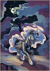 Size: 2828x4000 | Tagged: safe, artist:chio-kami, nightmare moon, princess luna, alicorn, pony, cloud, cloudy, digital art, digital painting, duality, duo, ethereal mane, eyes closed, featured image, female, flying, galaxy mane, mare, moon, painting, running, shiny, spread wings, stars, tree