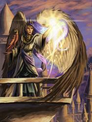 Size: 1500x2000 | Tagged: safe, artist:huussii, philomena, princess celestia, bird, human, phoenix, balcony, crown, duo, female, humanized, jewelry, large wings, magic, pet, regalia, winged humanization, wings, woman