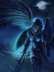Size: 1500x2000 | Tagged: safe, artist:huussii, nightmare moon, human, armor, female, halberd, helmet, humanized, moon, night, polearm, solo, starry hair, weapon, winged humanization, wings, woman
