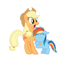 Size: 2500x2064 | Tagged: applejack, artist:daydreamsyndrom, earth pony, female, filly, foal, hug, mare, pegasus, pony, rainbow dash, safe, simple background, transparent background, vector