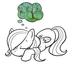 Size: 800x722 | Tagged: artist:okiedokielowkey, dream, female, filly, fluttershy, pegasus, pony, safe, simple background, sleeping, solo, tree, young