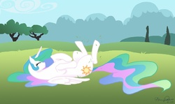 Size: 1000x597 | Tagged: alicorn, artist:glittering-pony, cute, cutelestia, eyes closed, female, grass, horses doing horse things, mare, meadow, on back, pony, princess celestia, rolling, safe, sillestia, solo